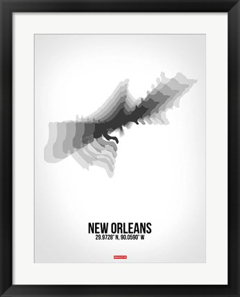 Framed New Orleans Radiant Map 4 Print