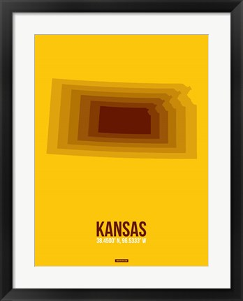 Framed Kansas Radiant Map 2 Print
