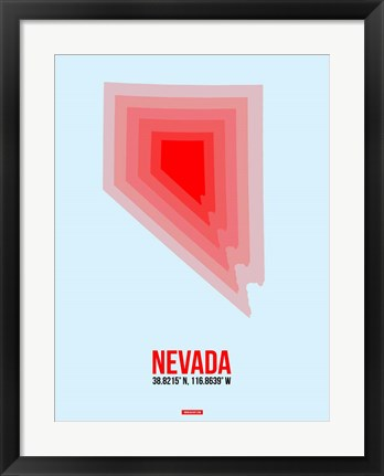 Framed Nevada Radiant Map 1 Print
