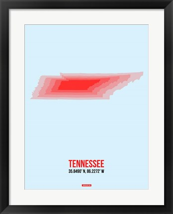 Framed Tennessee Radiant Map 3 Print