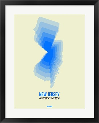 Framed New Jersey Radiant Map 1 Print