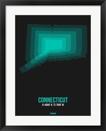 Framed Connecticut Radiant Map 5 Print