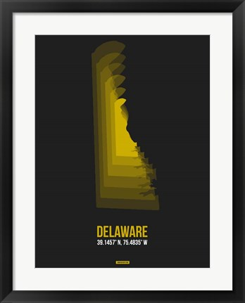 Framed Delaware Radiant Map 6 Print