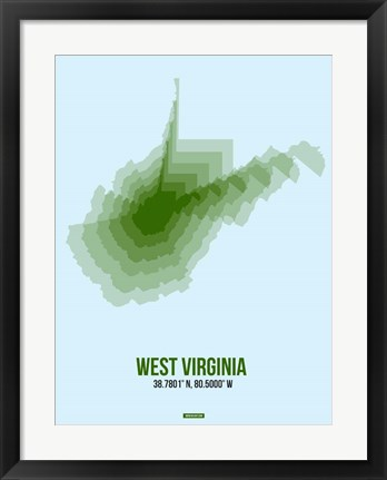 Framed West Virginia Radiant Map 2 Print