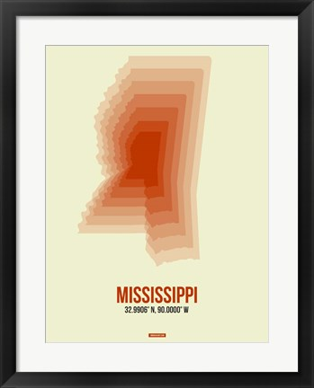Framed Mississippi Radiant Map 1 Print