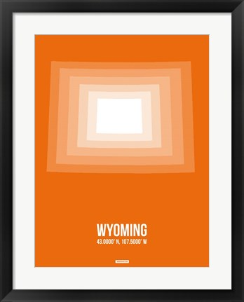 Framed Wyoming Radiant Map 3 Print