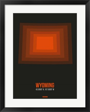 Framed Wyoming Radiant Map 5 Print