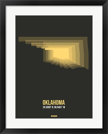 Framed Oklahoma Radiant Map 4 Print