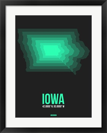 Framed Iowa Radiant Map 5 Print