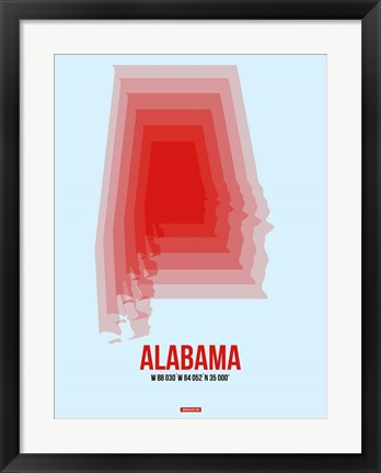 Framed Alabama Radiant Map 2 Print