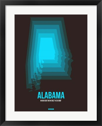 Framed Alabama Radiant Map 6 Print
