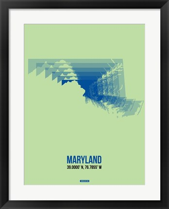 Framed Maryland Radiant Map 2 Print
