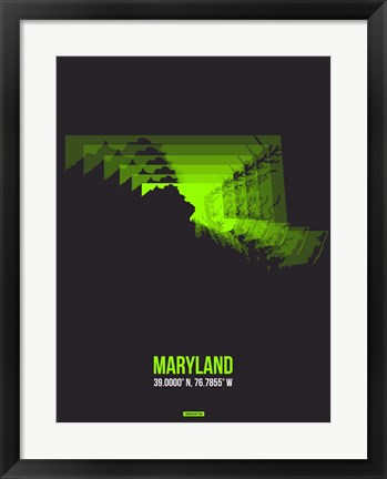 Framed Maryland Radiant Map 6 Print