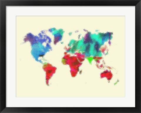 Framed Dotted World Map 4 Print