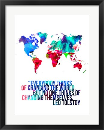 Framed World Map Quote Leo Tolstoy Print