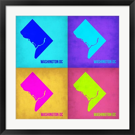Framed Washington DC Pop Art Map 1 Print