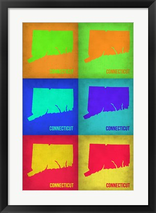 Framed Connecticut Pop Art Map 1 Print