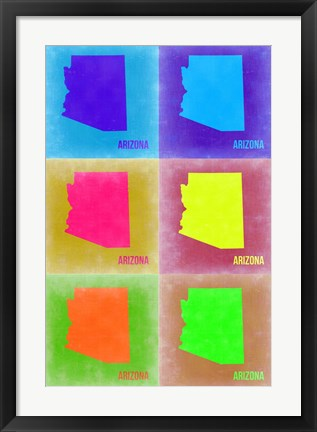 Framed Arizona Pop Art Map 3 Print