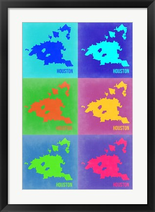 Framed Houston Pop Art Map 3 Print