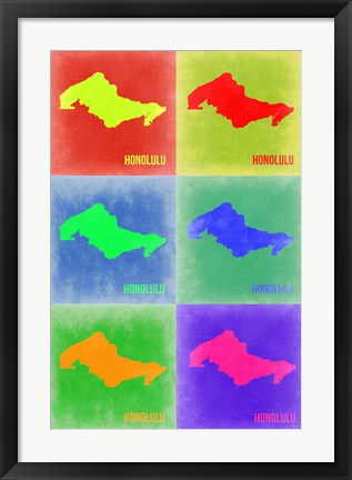 Framed Honolulu  Pop Art Map 3 Print