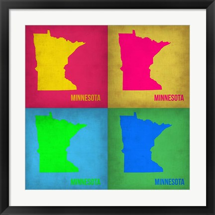 Framed Minnesota Pop Art Map 1 Print
