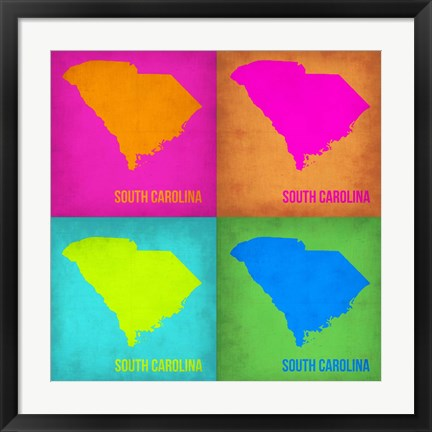 Framed South Carolina Pop Art Map 1 Print