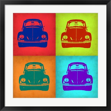 Framed VW Beetle Front Pop Art 1 Print