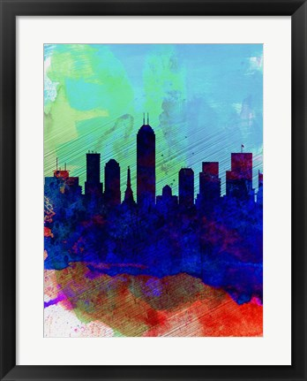 Framed Indianapolis Watercolor Skyline Print