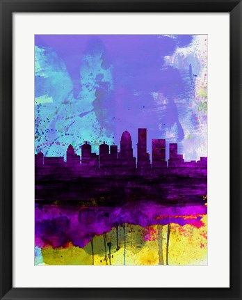 Framed Louisville Watercolor Skyline Print