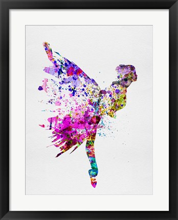 Framed Ballerina on Stage Watercolor 3 Print