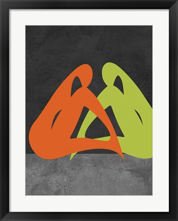 Framed Orange and Green Women Print