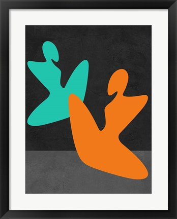 Framed Orange and Blue Girls Print