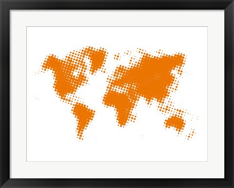 Framed Yellow Dotted World Map Print