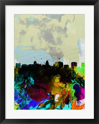 Framed Madison Watercolor Skyline Print