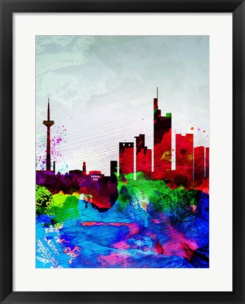 Framed Frankfurt Watercolor Skyline Print