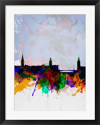 Framed Stockholm Watercolor Skyline Print
