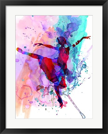 Framed Ballerina's Dance Watercolor 1 Print