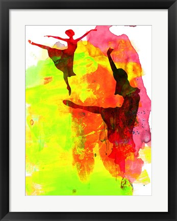 Framed Two Red Ballerinas Watercolor Print