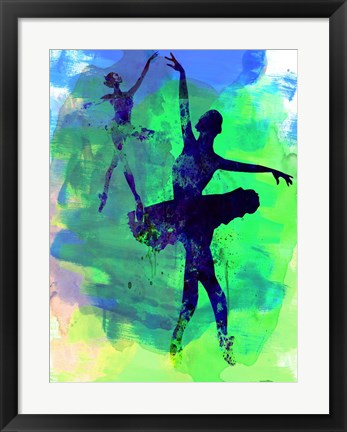 Framed Two Dancing Ballerinas Watercolor 3 Print