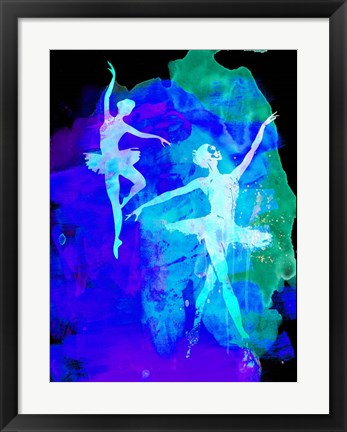 Framed Two White Dancing Ballerinas Print