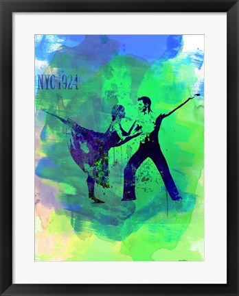 Framed Romantic Ballet Watercolor 1 Print