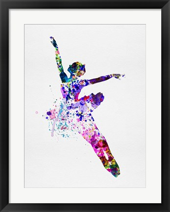 Framed Flying Ballerina Watercolor 1 Print