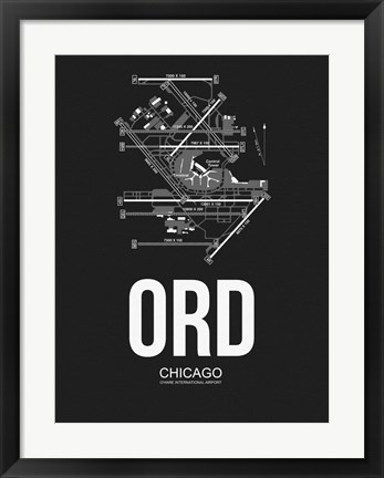 Framed ORD Chicago Airport Black Print