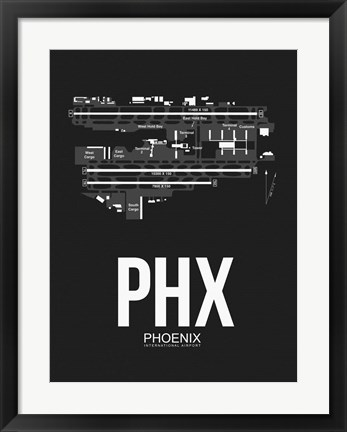 Framed PHX Phoenix Airport Black Print