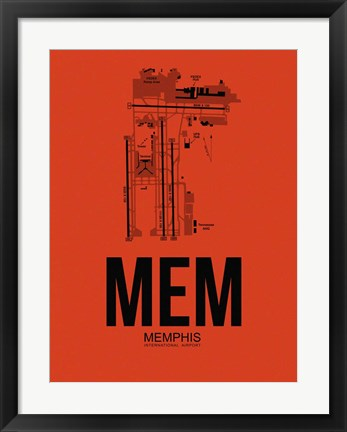 Framed MEM Memphis Airport Orange Print