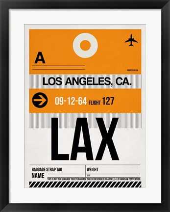 Framed LAX Los Angeles Luggage Tag 2 Print