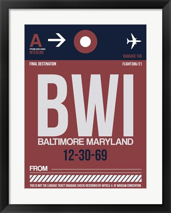 Framed BWI Baltimore Luggage Tag 2 Print