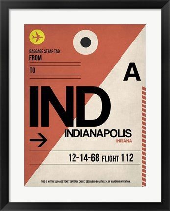 Framed IND Indianapolis Luggage Tag 1 Print