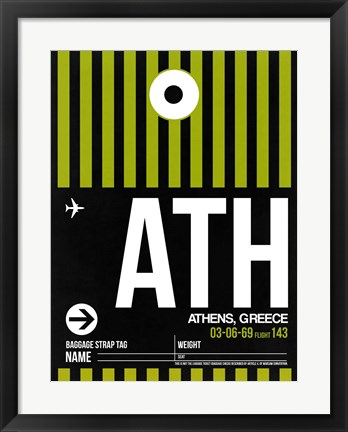Framed ATH Athens Luggage Tag 2 Print