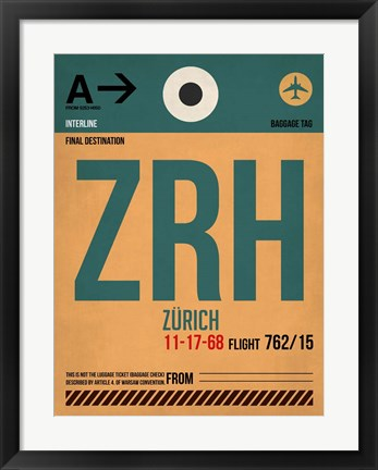 Framed ZRH Zurich Luggage Tag 1 Print